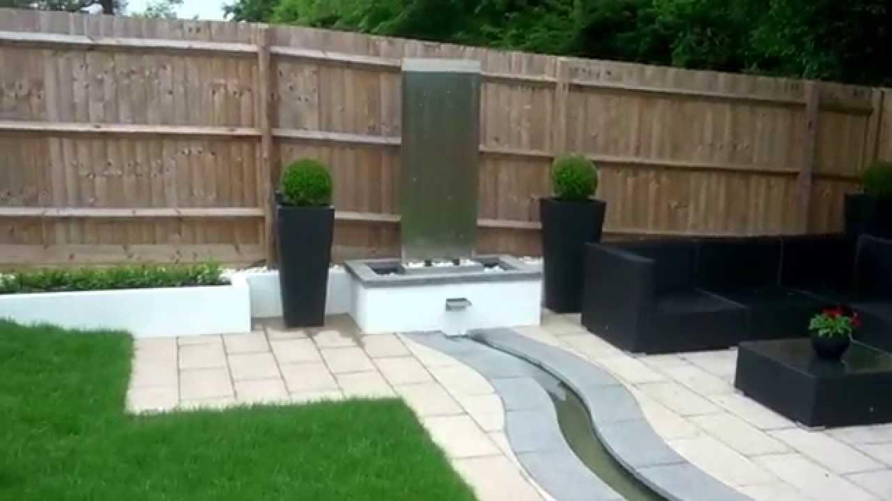 Designer patio & water feature - YouTube
