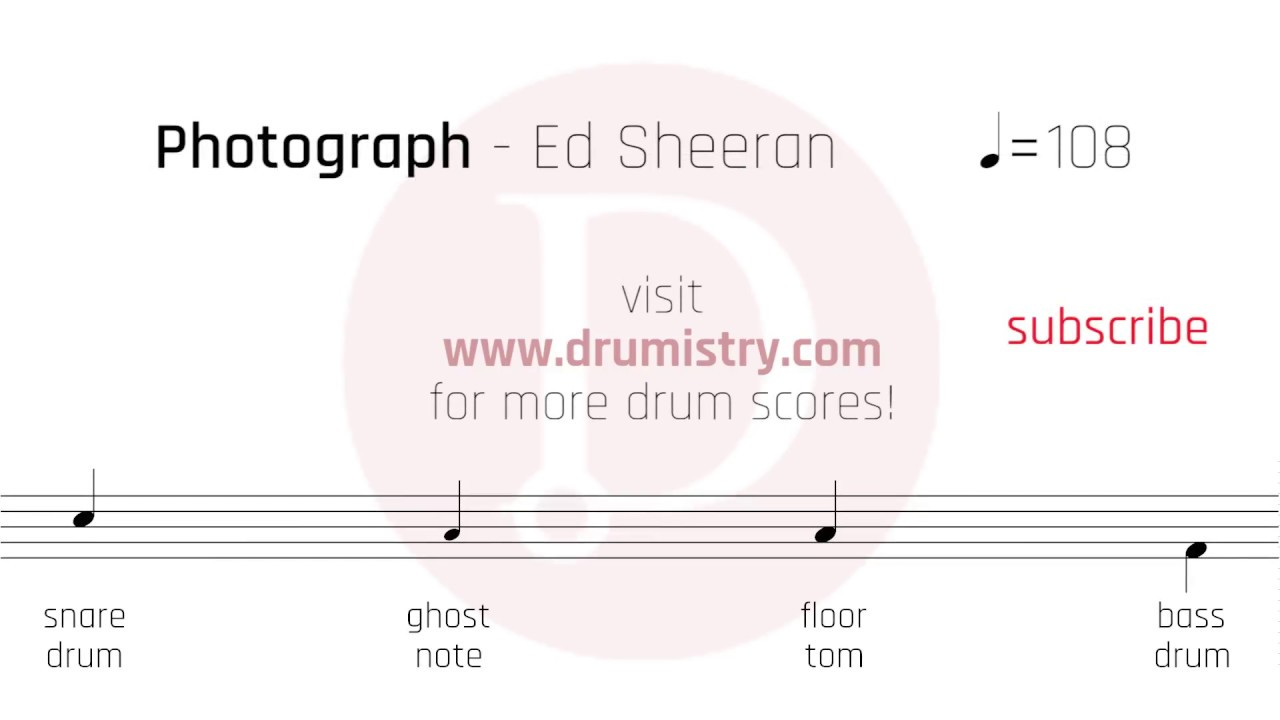 Ed Sheeran Photograph Drum Score