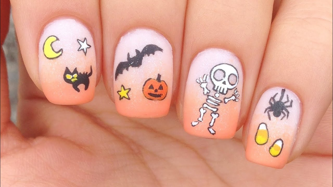 Nail Art Tutorial: Halloween Theme + Cute Skeleton - YouTube