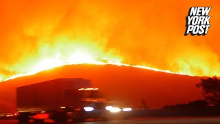 Frightening footage shows evacuees fleeing deadliest wildfire in California history thumbnail