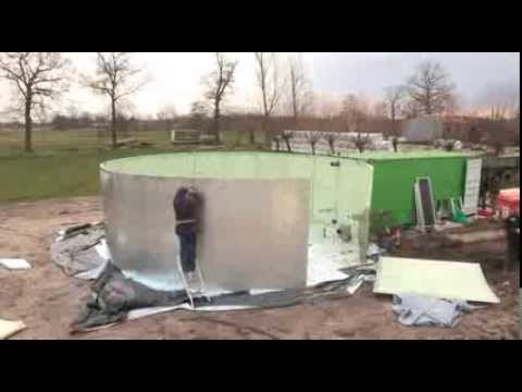 Construction of a Biolectric biogas plant in only 3 days ! Green electricity out of slurry .