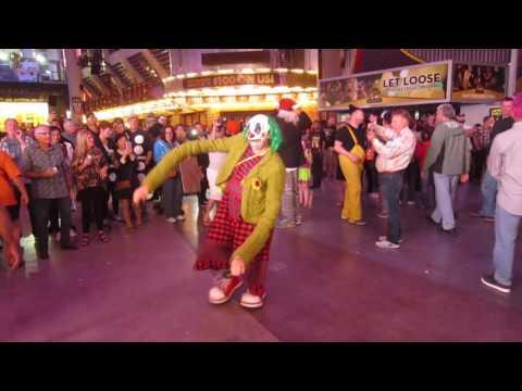 Creepy Clown on Fremont st. in Las Vegas