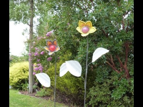 Making Large Pottery Garden Flowers and steelwork, Handmade. DIY Project
