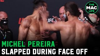 Michel Pereira slapped by Zelim Imadaev during UFC Vegas 9 Face Offs