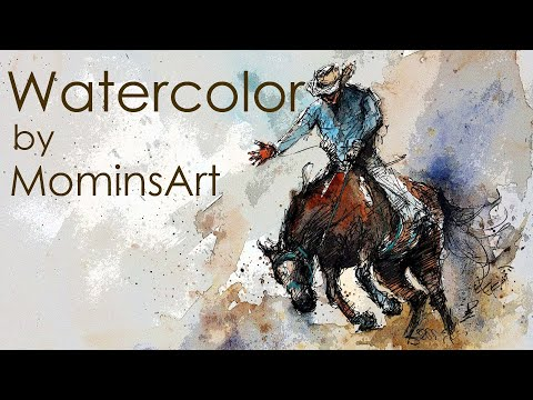 Line And Wash Watercolor Horse And Rider Painting- Equine Art.