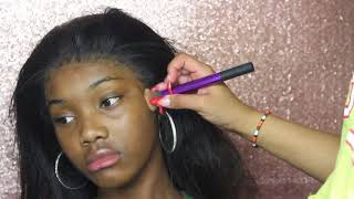 Applying A 360 Lace Wig to My Little Sisters Head | OMGHERHAIR