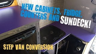 Step van conversion: Cabinets, Fridge, Countertops, roof deck and more!