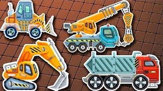 Cartoon über Gebäude Maschinen für die Kinder: Bagger, Lader, Сrane, Truck
