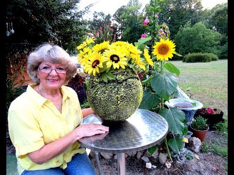 How to Make a Big Flower Pot from old Beach Ball Cement & fabric .