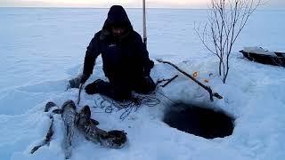 Рыбалка.Вторая проверка перемёта..Морозик!