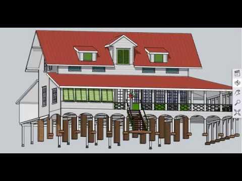 desain rumah panggung 2 lantai bebas dari banjir - youtube