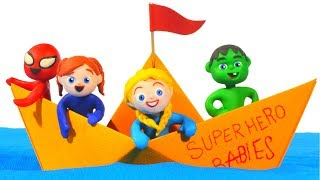 SUPERHERO BABIES ARE SAILING ON A PAPER BOAT ❤ SUPERHERO PLAY DOH CARTOONS FOR KIDS