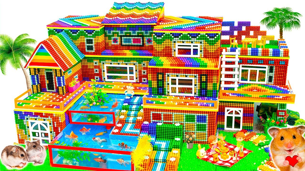 Satisfying Video - Build Mega Mansion Has Multi Storey With Pool And Garden From Magnetic Balls