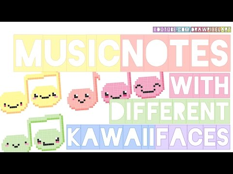 how to draw kawaii music notes | colorful pastel doodle perler beads | drawpixelart