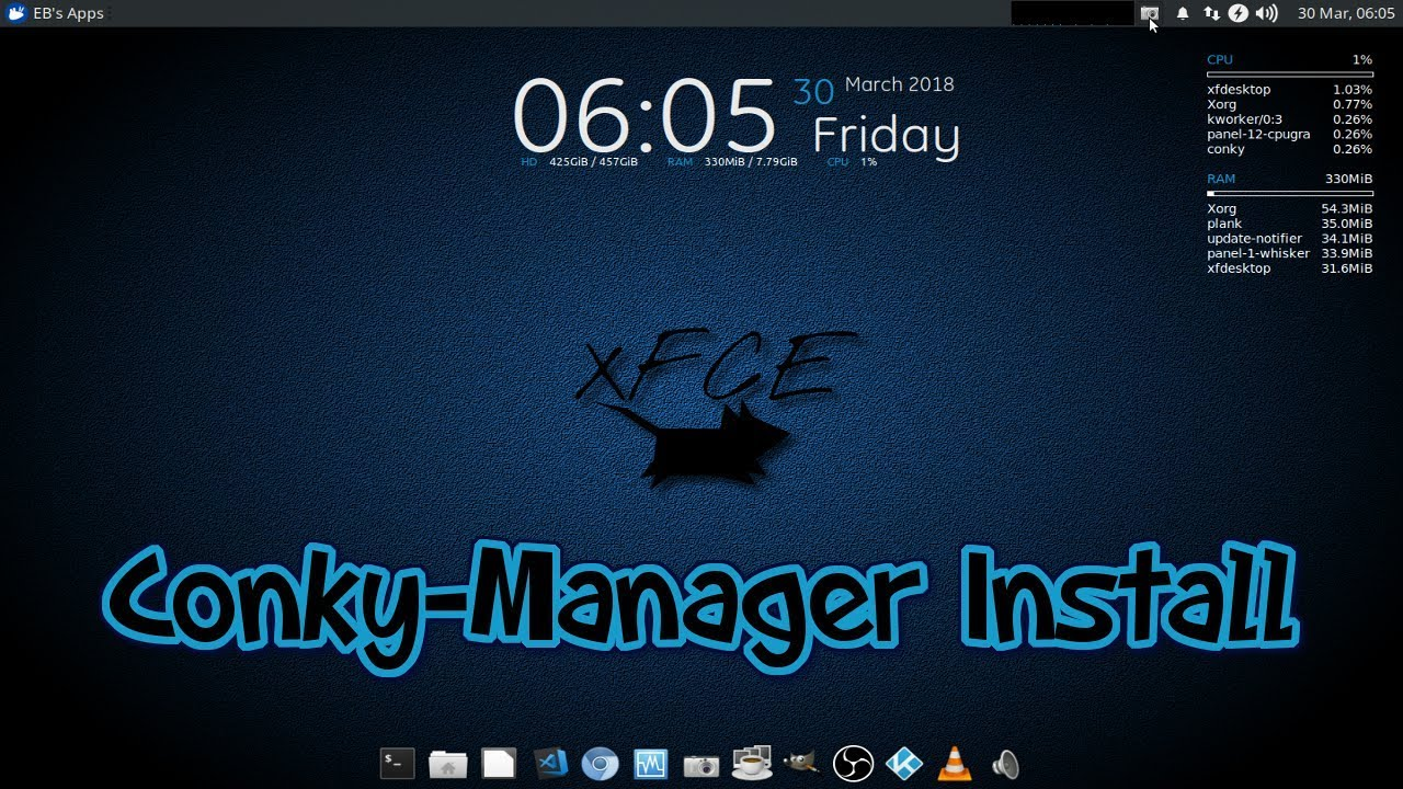 How To Install Conky Manager on Xubuntu 18 04 Beta 1