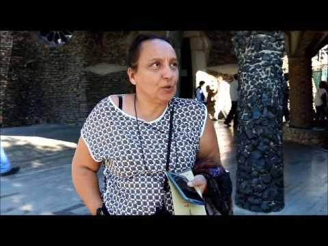 Interview in front of Colonia Guell