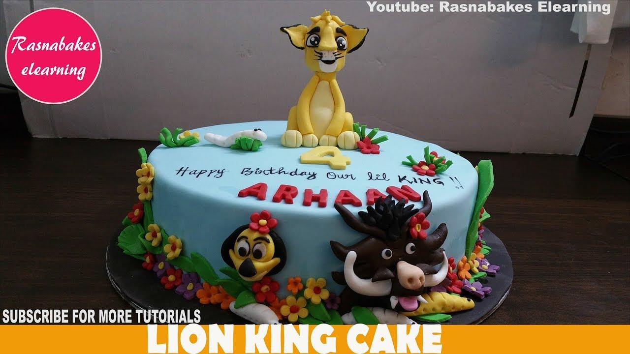 lion king birthday cake or baby shower theme jungle animals design ideas  decorating tutorial video