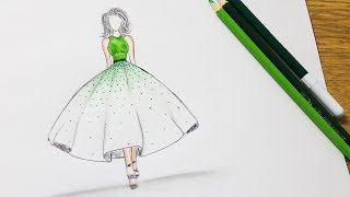 How to draw a wonderful dress - Prom Dress Drawing
