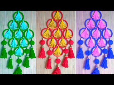 Best Out of Waste Bangles Crafts !! Easy Woolen & Bangles Wall Hanging !! Bangles Crafts 2019