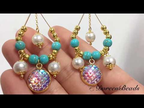DoreenBeads Jewelry Making Tutorial - How to Make Resin Fishscale Loose Beads Pearl Earrings