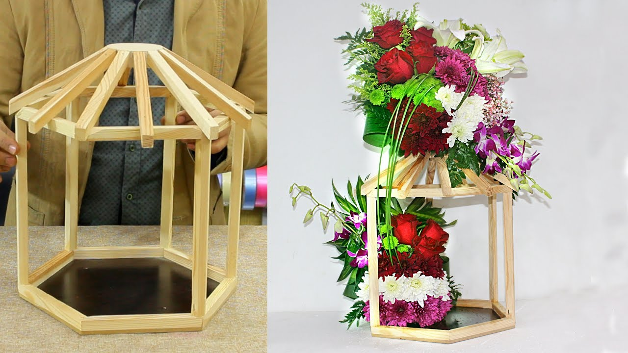 Flower Arrangement In Wood Stande How To Make A Wood Stand Flower Bouquet Youtube