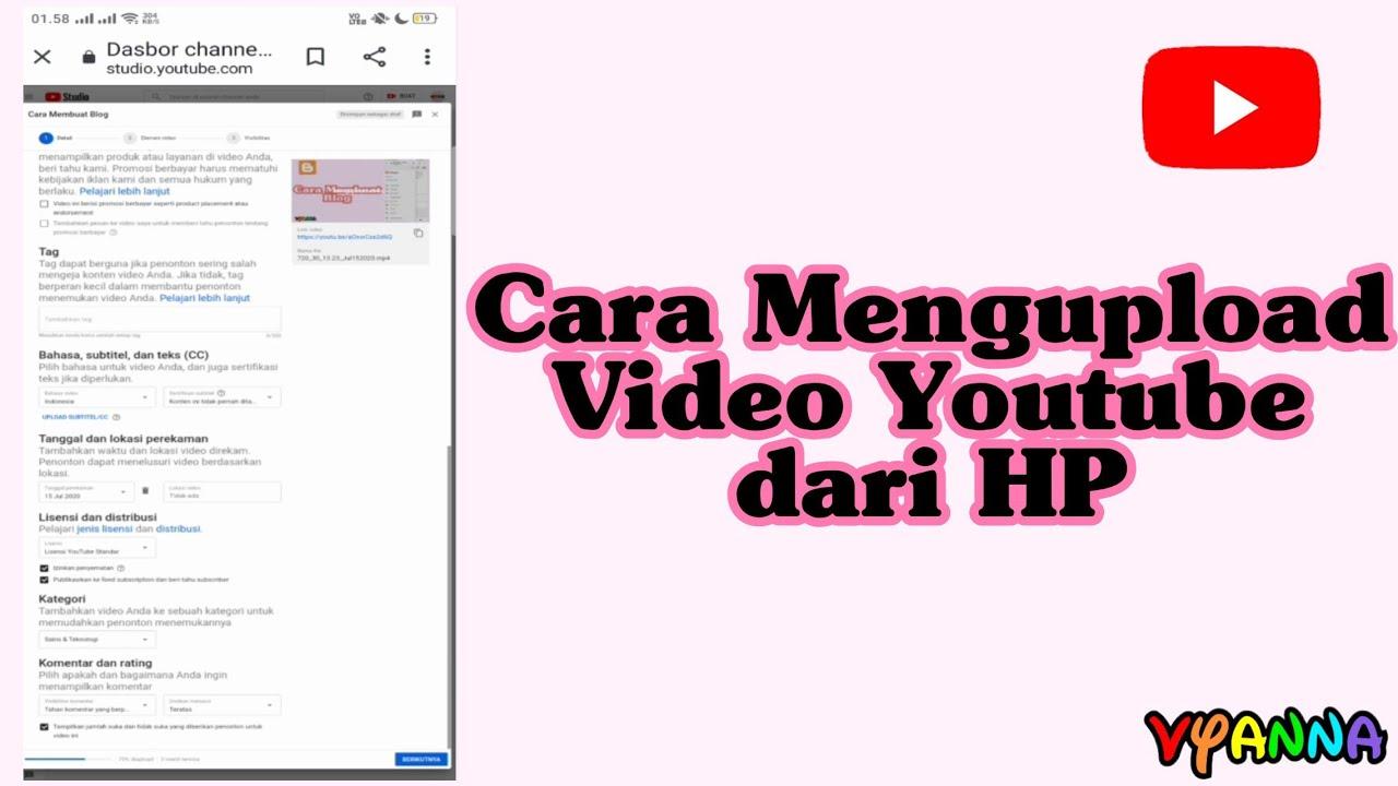 Cara Mengupload Video Youtube Dari Hp Youtube