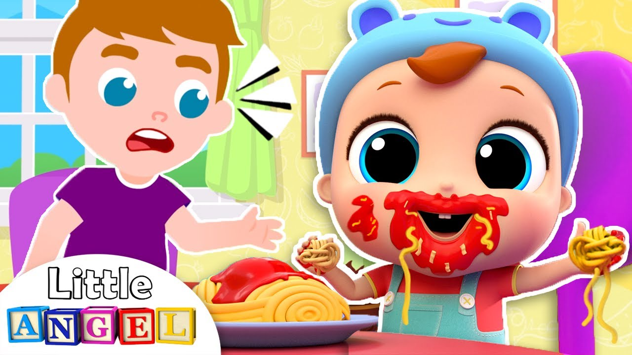Yes Yes, I can Eat by Myself!   Good Manners Song   Little Angel Nursery Rhymes