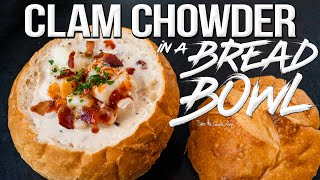 Clam Chowder in a Homemade Bread Bowl | SAM THE COOKING GUY 4K
