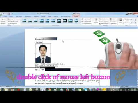 How to insert image/ photo/ picture in CV /resume by MS Word 2007/ 2010/ 2013/ 2016