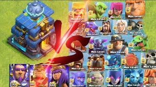 #clashofclans Max Giga Tesla vs all max troops and all Heroes GIGA TESLA (TH 12)
