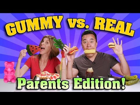 Thumbnail: GUMMY FOOD vs. REAL FOOD CHALLENGE Parents Edition!!!