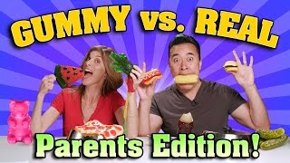 One of EvanTubeRAW's most viewed videos: GUMMY FOOD vs. REAL FOOD CHALLENGE Parents Edition!!!