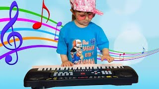 Elina & Julia Pretend Play with Musical Instrument Toys for Kids & Sing Nursery Rhymes