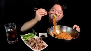 비빔국수에 대패삼겹살 먹방 Spicy Noodles &…