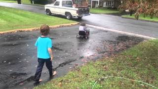 Our Basement Flooded! And Rowan Rides The Razor Crazy Cart. 4K iPhone 6s
