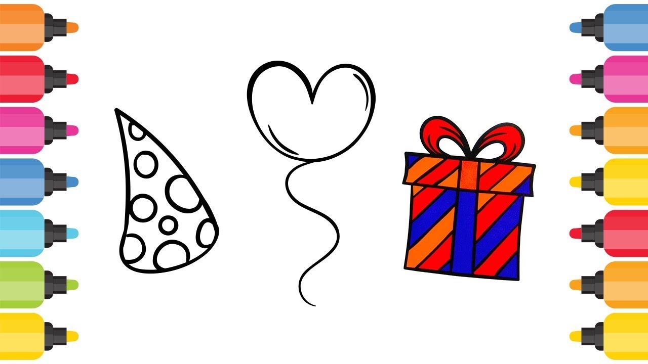 Parti şapkası Kalpli Balon Hediye Paketi Boyama Oyunu