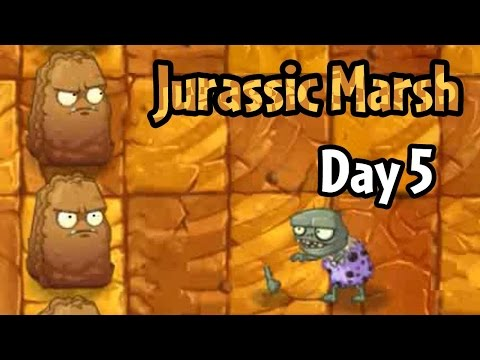 Plants vs Zombies 2 - Jurassic Marsh Day 5: Primal Wall-nut and Jurassic Imp