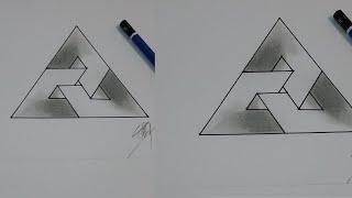 cara menggambar segitiga 3D simpel | how to draw a simple three dimensional triangle