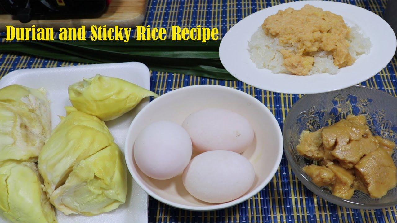 បង្អែមបាយដំណើបសង់ខ្យាធូរេន - Durian and Sticky Rice Recipe | Samphos Cooking Food