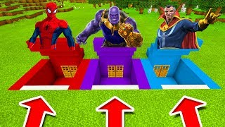 Minecraft PE : DO NOT CHOOSE THE WRONG SECRET BASE! (Spiderman, Thanos & Doctor Strange)