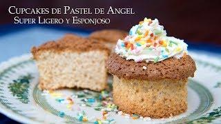 Cupcakes de Pastel de Angel Super Ligero y Esponjoso