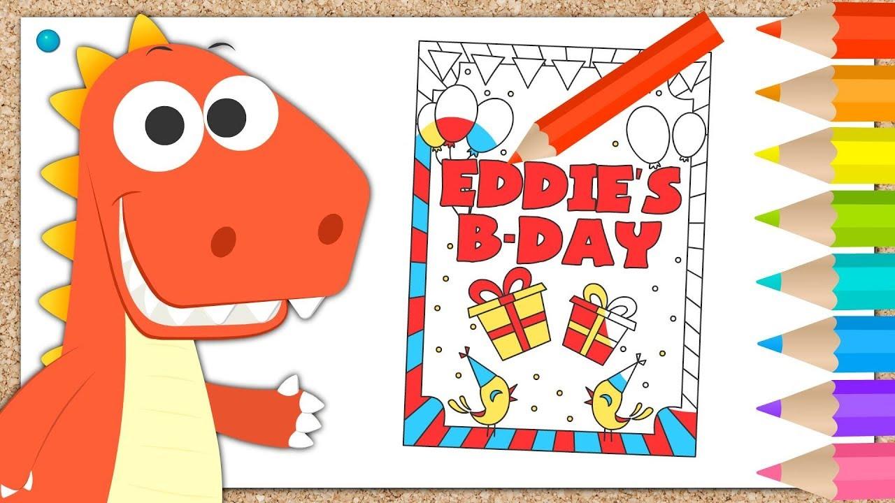 Aprende con Eddie a colorear la invitación de cumpleaños 🎨 Eddie ...