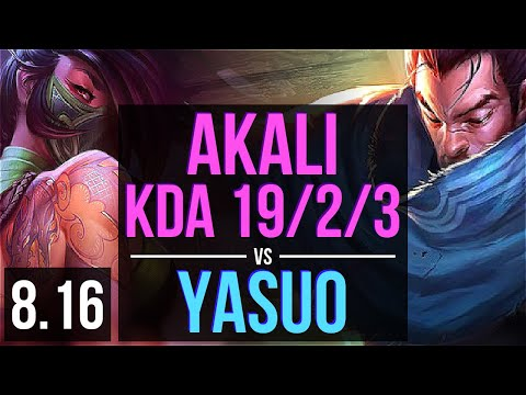 AKALI vs YASUO (TOP) ~ KDA 19/2/3, Legendary ~ Korea Master ~ Patch 8.16