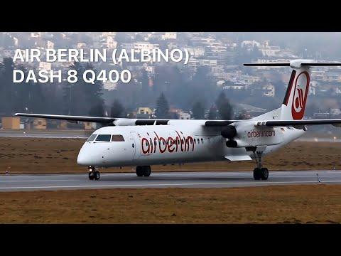 ALBINO. Air Berlin Q400 (D-ABQQ) SHORT & near VERTICAL takeoff (INN)