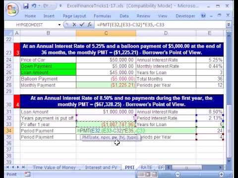 Excel Finance Trick #5 PMT  FV function  Delayed Payments - YouTube