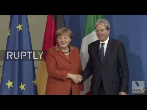 Germany: Merkel hosts Italian PM Gentiloni at the Chancellery in Berlin