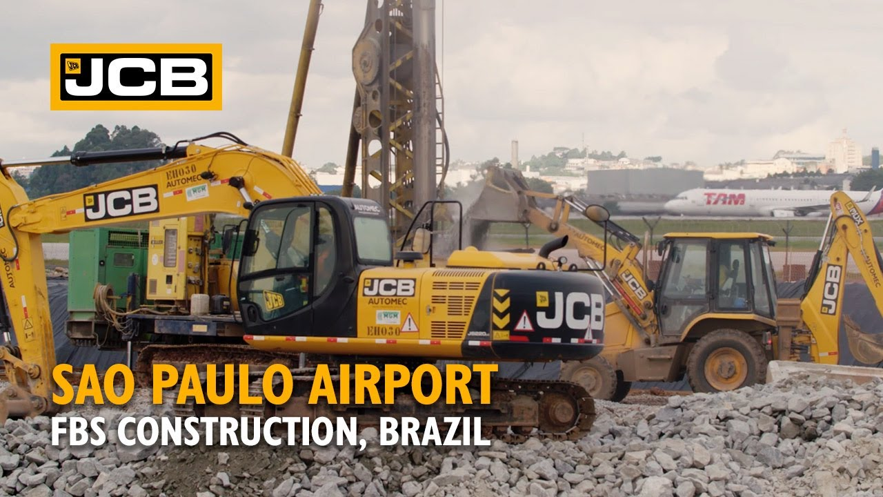 JCB Excavators and Backhoe Loaders working at São Paulo Airport, Brazil