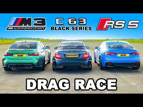 BMW M3 v Audi RS5 v AMG C63 Black Series: DRAG RACE