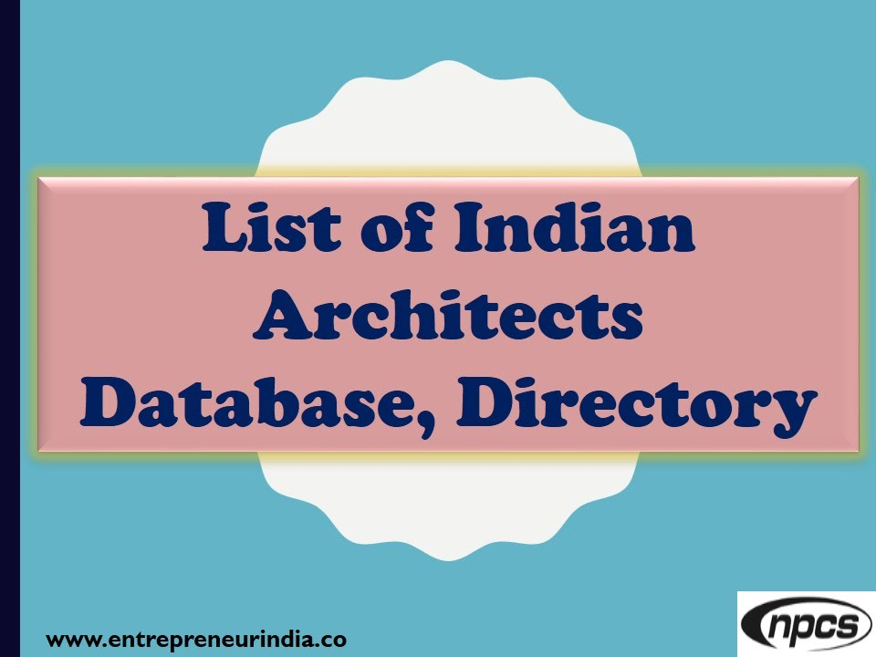 Awesome List Of Indian Architects Directory, Database   YouTube