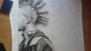 Huge Pencil Drawing of a Punk